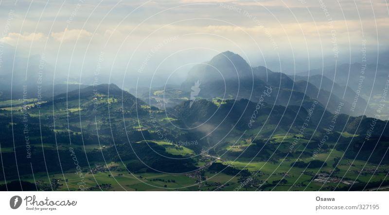Morgendämmerung Himmel Natur blau grün Sommer Baum Landschaft ruhig Wolken Wald Umwelt Wiese Horizont Feld Nebel Schönes Wetter
