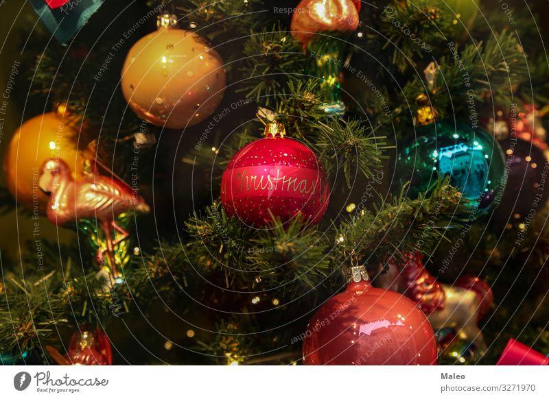 Weihnachtsbaum hell Weihnachten & Advent Dekoration & Verzierung rot Winter Hintergrundbild neu Baum Dezember festlich Jahr Design Feste & Feiern gold grün