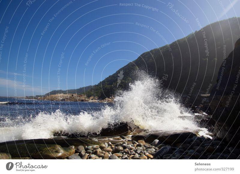 Küstenmoment Himmel Natur Ferien & Urlaub & Reisen Wasser Sommer Sonne Meer Landschaft Strand Ferne Umwelt Küste Freiheit natürlich Horizont Wellen