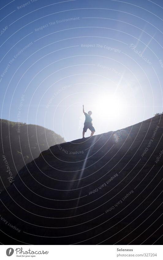 Aufsteiger Ferien & Urlaub & Reisen Tourismus Ausflug Abenteuer Ferne Freiheit Sommerurlaub Sonne wandern Mensch 1 Umwelt Natur Landschaft Himmel