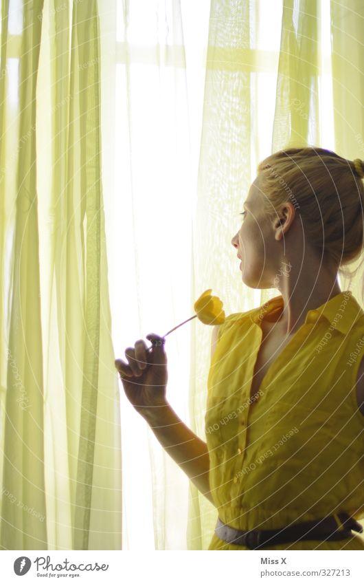 drinnen wie draußen Häusliches Leben Wohnung Mensch feminin Junge Frau Jugendliche 1 18-30 Jahre Erwachsene Fenster Kleid Blick schön Neugier gelb Gefühle