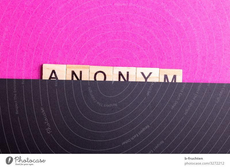 Anonym Wirtschaft sprechen Neue Medien Internet E-Mail Papier Holz Zeichen Schriftzeichen beobachten Kommunizieren rosa schwarz Scrabble Buchstaben anonym