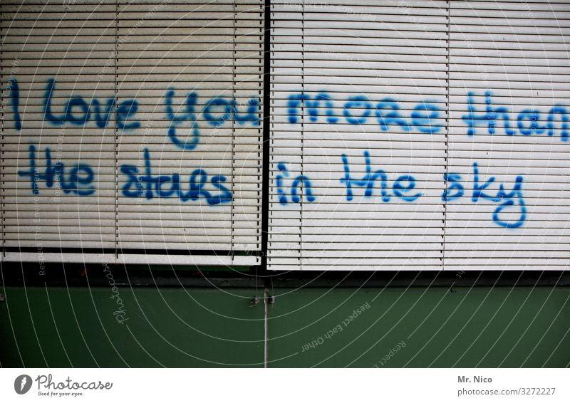crazy in love Fenster Glück Lebensfreude Vorfreude Sympathie Zusammensein Liebe Verliebtheit Jalousie Schriftzeichen Redewendung Stern Sternenhimmel Ewigkeit