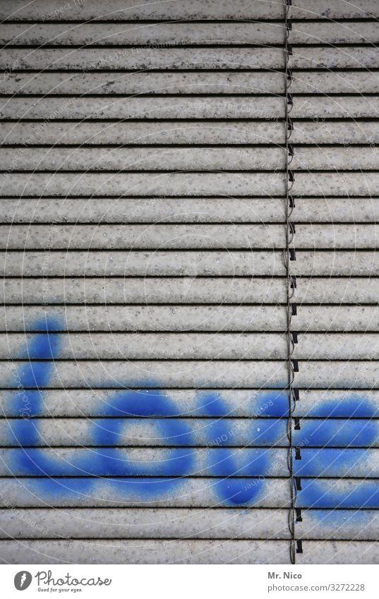 Geschriebenes l liebe Zeichen Schriftzeichen Graffiti blau Liebe Jalousie Subkultur Rollo Gefühle Sympathie Englisch Liebeserklärung Liebesbekundung Liebesgruß