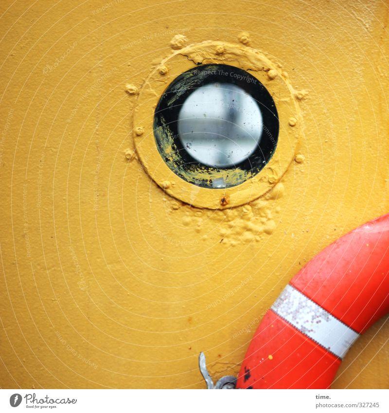 Rømø | Durchblick Schifffahrt Binnenschifffahrt Fischerboot Bullauge Rettungsring maritim lackiert Bootslack Bordwand Glas Metall Kunststoff alt historisch