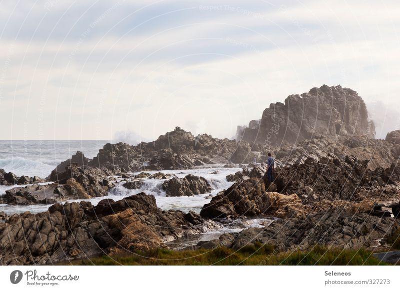 Bühnenbild Mensch Himmel Natur Ferien & Urlaub & Reisen Wasser Sommer Sonne Meer Landschaft Ferne Strand Umwelt Küste Freiheit natürlich Horizont