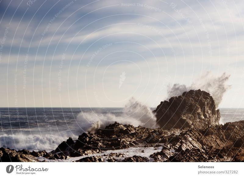 Die Liebe. Das Meer. Himmel Natur Ferien & Urlaub & Reisen Wasser Sommer Wolken Strand Ferne Umwelt Küste Schwimmen & Baden Freiheit Stein natürlich Horizont