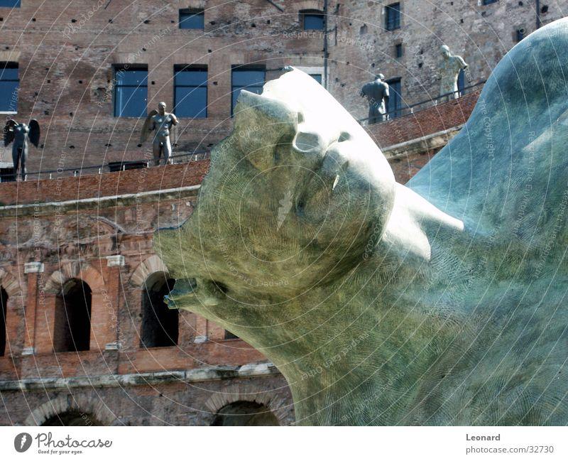 Skulptur 7 Mensch Mann Gesicht Stein Gebäude Kunst Statue Handwerk historisch Skulptur Rom Ausstellung Schädel