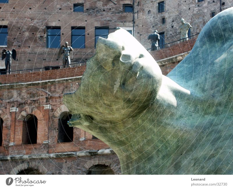Skulptur 7 Mensch Mann Gesicht Stein Gebäude Kunst Statue Handwerk historisch Rom Ausstellung Schädel