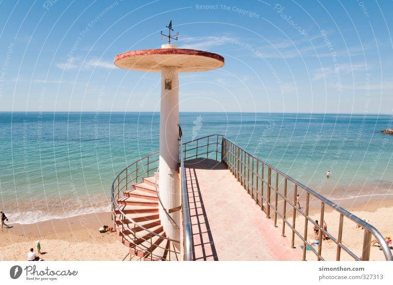 Strand Himmel Natur Ferien & Urlaub & Reisen Wasser Sommer Sonne Meer ruhig Wolken Ferne Wärme Freiheit Küste Sand Horizont