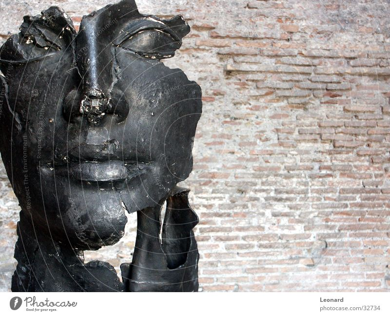 Skulptur 4 Mensch Mann Gesicht Stein Gebäude Kunst Statue Handwerk historisch Rom Ausstellung Italien