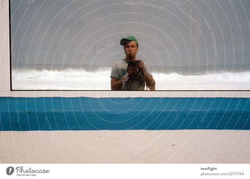 albern Mensch Natur blau Strand Umwelt maskulin