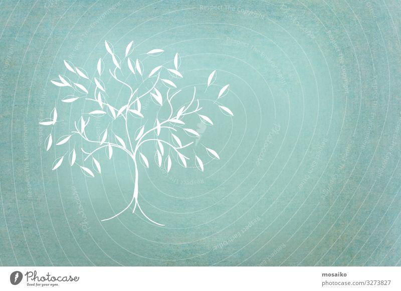 kleiner Baum handgezeichnet auf grünem Hintergrund Ferien & Urlaub & Reisen Natur blau weiß Erholung ruhig Freude Ferne Hintergrundbild Lifestyle Leben