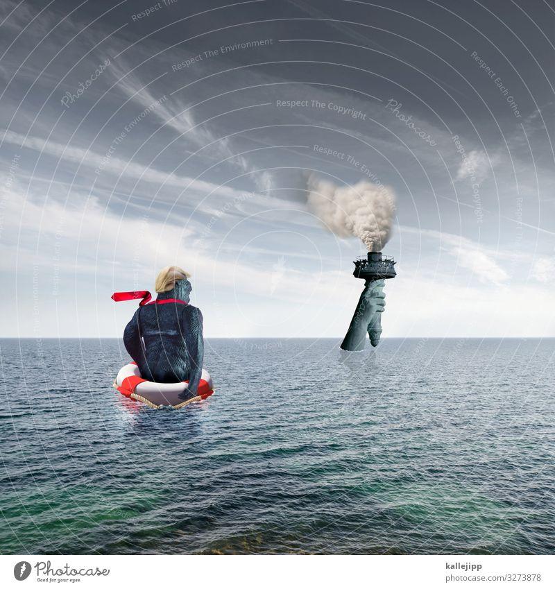 amerika first Umwelt Natur Klima Klimawandel Meer Sehenswürdigkeit Wahrzeichen Denkmal Freiheitsstatue Krawatte Haare & Frisuren blond historisch donald trump