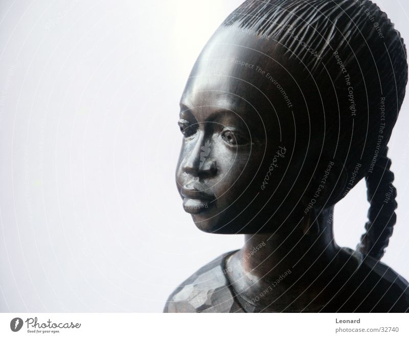 Ebenholzabbildung 2 Frau Mensch Mädchen Gesicht Holz Kunst Afrika Statue Handwerk Skulptur Bildhauerei Kind Holzmehl