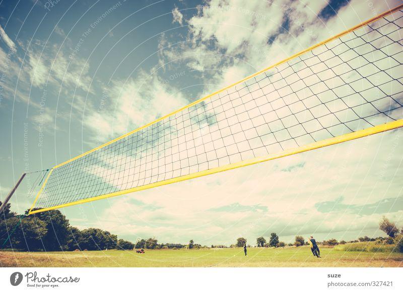 Sommerlochfänger Mensch Himmel Natur blau Landschaft Freude Wolken gelb Umwelt Wiese Sport Spielen Horizont Freizeit & Hobby Lifestyle