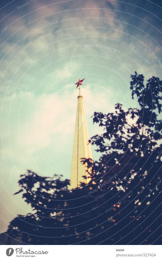 Achilleion Himmel Wolken Baum Gebäude Sehenswürdigkeit Wahrzeichen hoch Spitze rot schwarz Freundschaft Politik & Staat Vergangenheit Stern (Symbol)