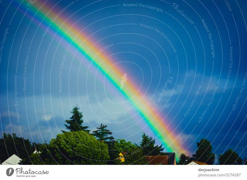 Regenbogen über den Häusern. Der Bunte mehrfarbige Strahl zeigt in der Blauen Himmel. Freude Sinnesorgane Sommer Umwelt Wolkenloser Himmel Schönes Wetter