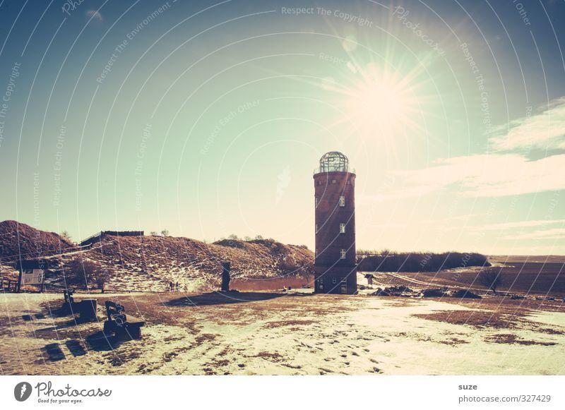 Ersatzleuchte Winter Umwelt Natur Landschaft Urelemente Himmel Sonne Klima Wetter Küste Platz Leuchtturm Bauwerk Architektur Sehenswürdigkeit Wahrzeichen alt