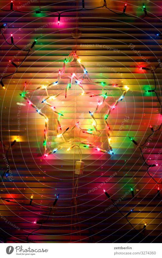 Weihnachtsstern Weihnachten & Advent Beleuchtung Dekoration & Verzierung Fenster geschlossen Illumination Jalousie Licht Party Lichterkette Partynacht Rollo