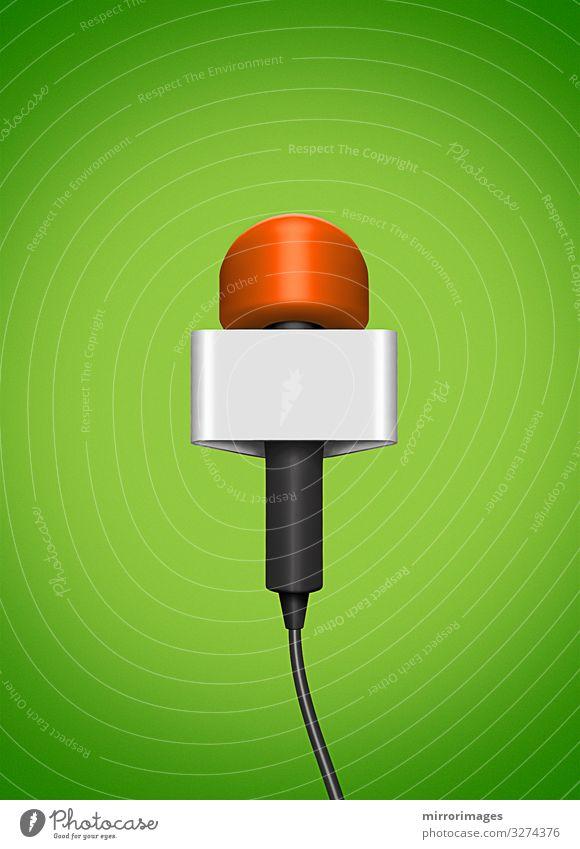 neu, Rundfunk, Mikrofon, 3D-Kunst, leeres Senderetikett, grüner Hintergrund Entertainment Veranstaltung Sport Publikum Sportveranstaltung Beruf Industrie
