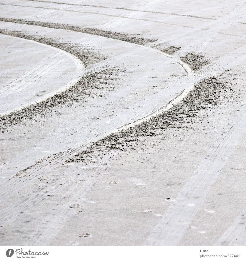 Rømø | Lebenslinien #67 Sand Küste Strand Nordsee Insel Verkehr Autofahren Wege & Pfade Reifenspuren Kurve Kurvenlage kreuzen rund Stress Nervosität Design