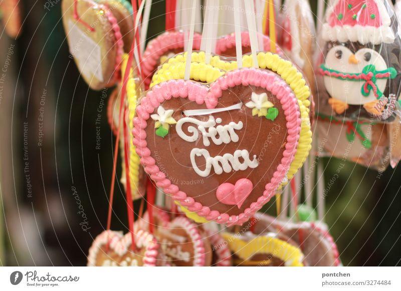 Lebkuchenherzen an Marktstand. Für Oma Lebensmittel Süßwaren Ausflug Feste & Feiern Oktoberfest Jahrmarkt Freude Vertrauen Verschwiegenheit Warmherzigkeit