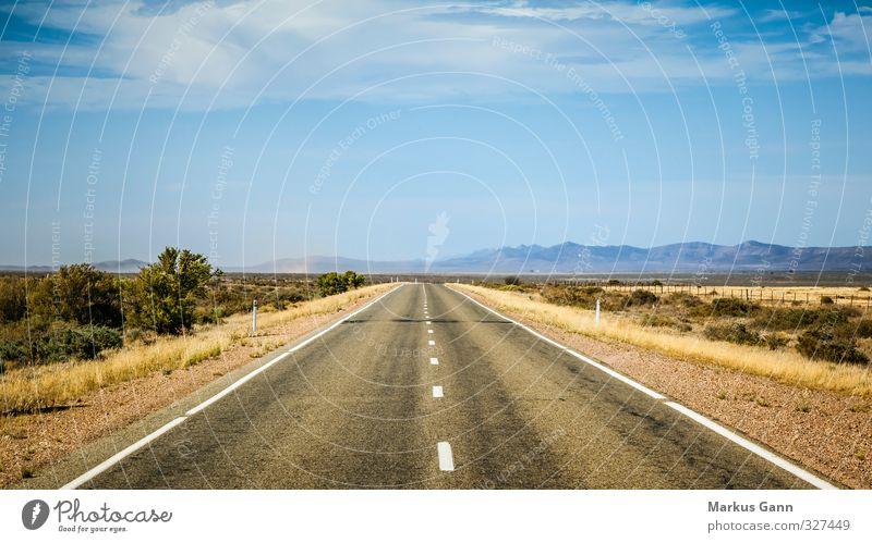 Gerade Straße Himmel blau Sommer Landschaft Freiheit grau Reisefotografie Horizont braun orange Verkehr Schönes Wetter Abenteuer fahren trocken