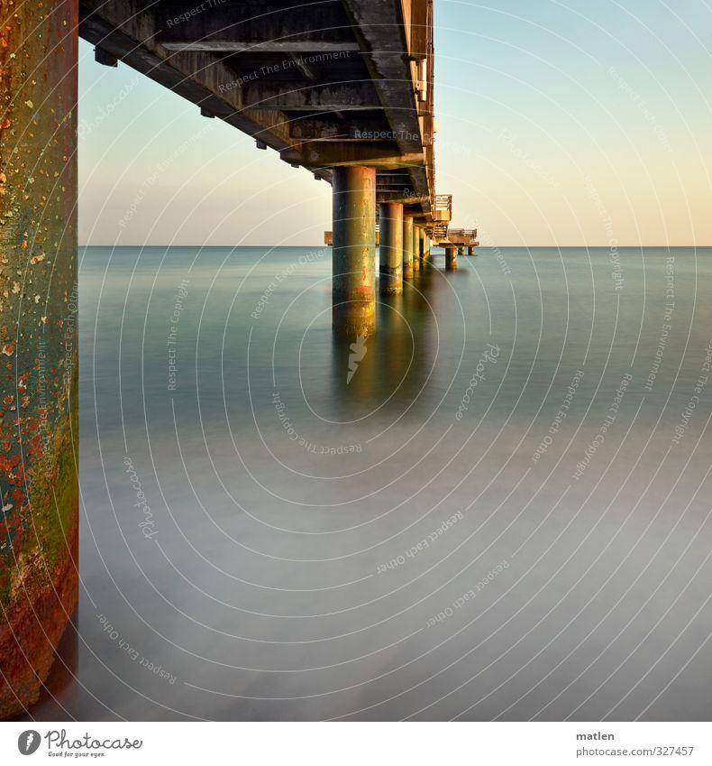 ikke Rømø Natur Wasser Himmel Wolkenloser Himmel Horizont Sonnenlicht Frühling Schönes Wetter Wellen Küste Strand Ostsee Menschenleer Brücke blau braun weiß