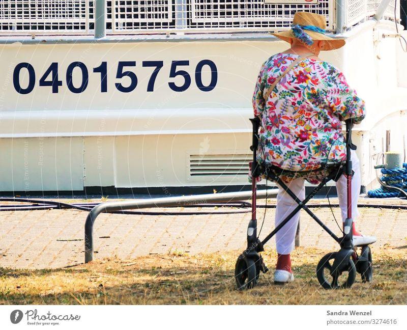 Warten... Mensch feminin Großmutter Senior 1 60 und älter alt warten altersarmut Seniorenheim Urgroßmutter Gehhilfe Farbfoto Außenaufnahme Tag