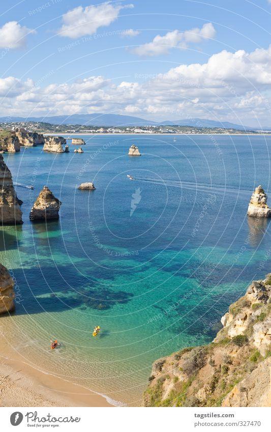 Portugal - Algarve - Lagos - Praia do Camilo Felsalgarve Ferien & Urlaub & Reisen Reisefotografie Idylle Postkarte Tourismus Paradies Strand Sand Meer Atlantik