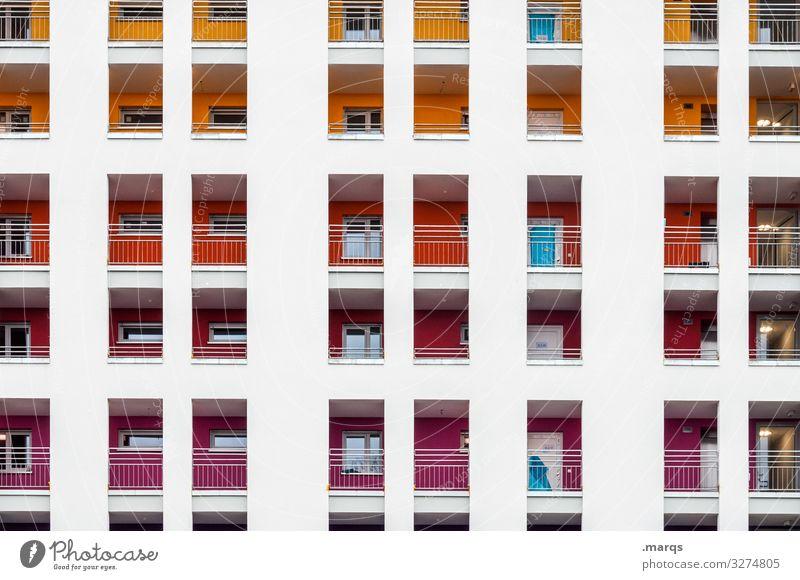 Fassade bunt Lifestyle Stil Design trendy modern mehrfarbig Muster Farbe Fenster Linie Architektur eckig gelb orange rot weiß ästhetisch lila Raster Neubau