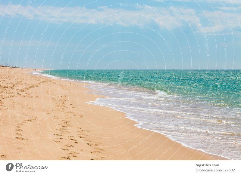 MEER Portugal Algarve Ilha de Faro Praia de Faro Sandalgarve Ferien & Urlaub & Reisen Reisefotografie Idylle Postkarte Tourismus Paradies Strand Meer Atlantik