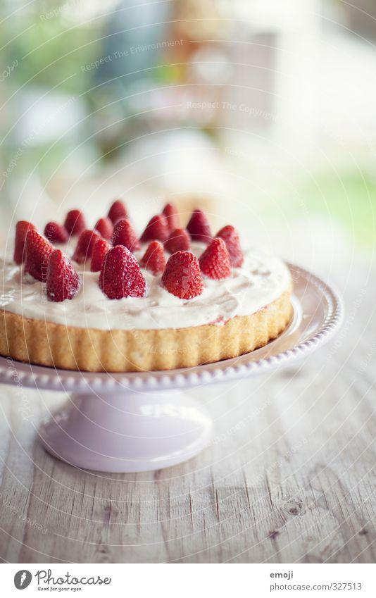 Versuchung Frucht Kuchen Dessert Süßwaren Ernährung Tortenplatte lecker süß Sahnetorte Erdbeeren Erdbeertorte Farbfoto Innenaufnahme Nahaufnahme Menschenleer