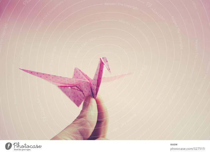 Handgemacht Hand Tier klein Kunst Vogel rosa fliegen Freizeit & Hobby Design Dekoration & Verzierung ästhetisch Finger niedlich Papier Kreativität festhalten