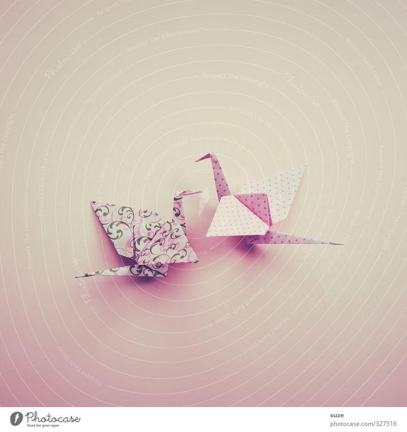 Anmut Design Freizeit & Hobby Basteln Dekoration & Verzierung Flirten Kunst Tier Vogel Tierpaar Papier Brunft fliegen ästhetisch Kitsch klein niedlich rosa