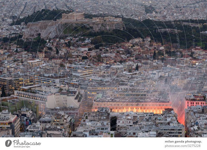 Athen Studium Architektur Ärger Europa mediterran Griechenland Attika Lycabettus Stadtbild Großstadt urban Vientiane Dächer panepistimio Akademie von Athen