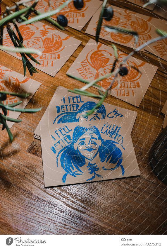 Linolprint Postkarten Freizeit & Hobby Basteln Handarbeit Künstler Maler Pflanze ästhetisch trendy modern blau braun rot Design Farbe Inspiration Kreativität