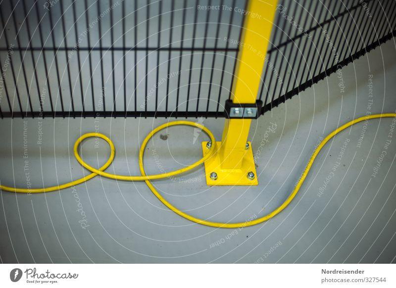 Bauzaun Arbeit & Erwerbstätigkeit Handwerker Arbeitsplatz Fabrik Industrie Technik & Technologie Metall Linie blau gelb schwarz Problemlösung Netzwerk Kabel