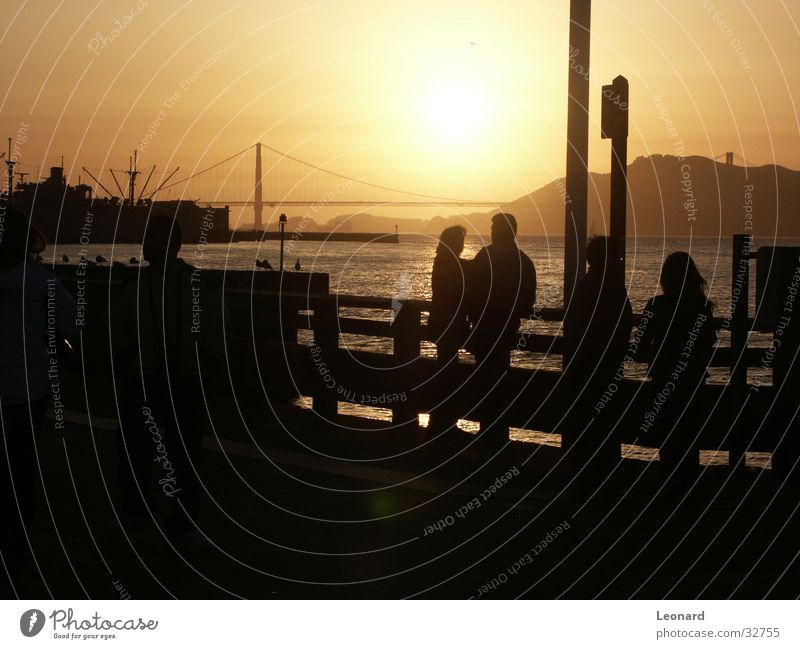 Golden Gate Mensch Mann Frau Sonnenuntergang Meer Vogel Amerika Golden Gate Bridge San Francisco Nordamerika Brücke Bucht sea water bridge Silhouette