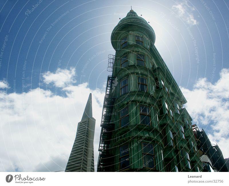 San Francisco Himmel Sonne grün Wolken Fenster Gebäude Architektur Hochhaus Treppe Turm San Francisco