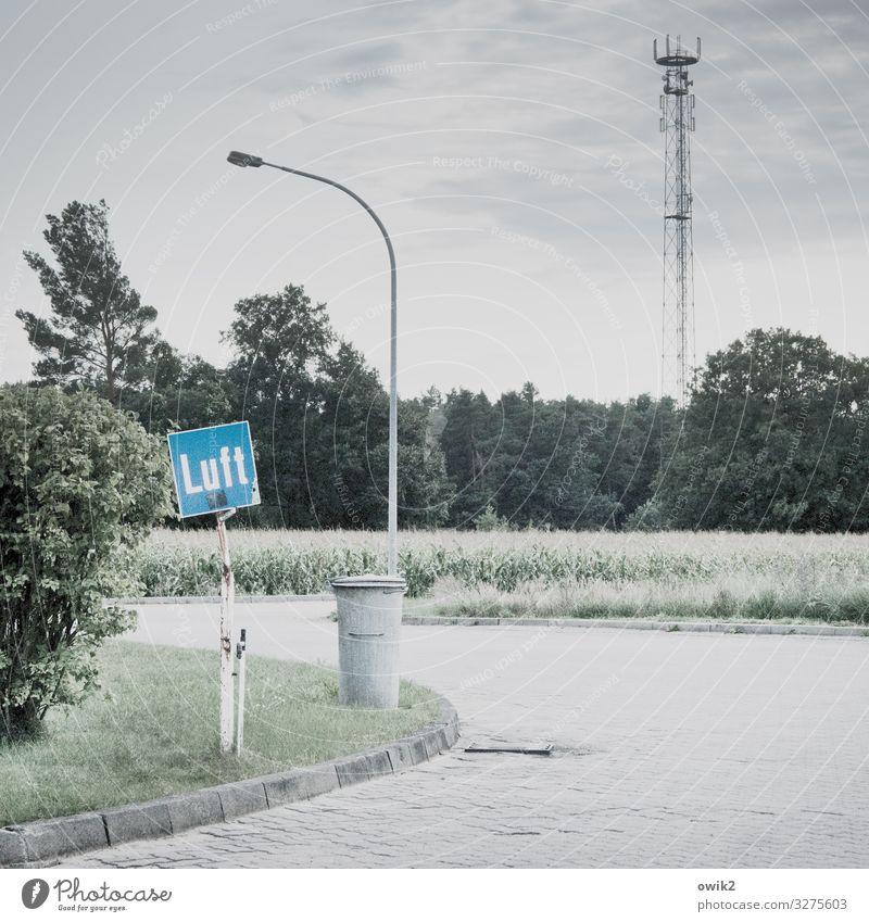Luftaufnahme Himmel Wolken Baum Gras Sträucher Feld Wald Straße Tankstelle Müllbehälter Stein Metall Schriftzeichen Schilder & Markierungen Hinweisschild