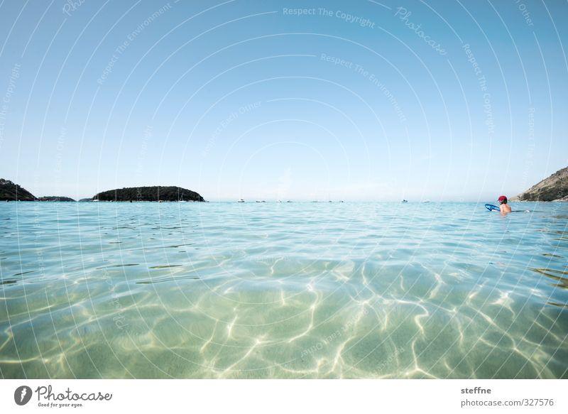 Eskapismus Natur Wasser Wolkenloser Himmel Schönes Wetter Küste Bucht Meer Indischer Ozean Phuket Thailand Asien Südostasien heiß schön Strand Schwimmen & Baden