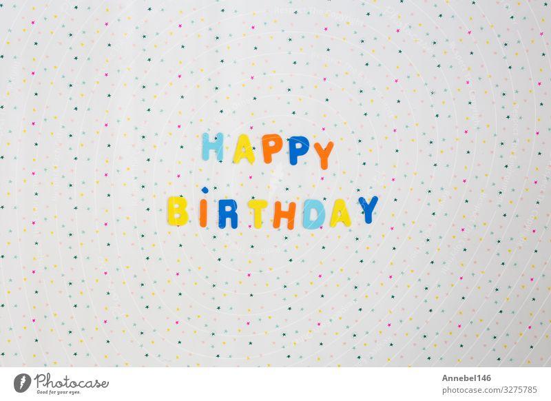 Bunte Geburtstagsglückwünsche mit Sternen auf weißem Hintergrund Design Freude Glück Dekoration & Verzierung Feste & Feiern Kunst Papier Kerze Luftballon Schnur