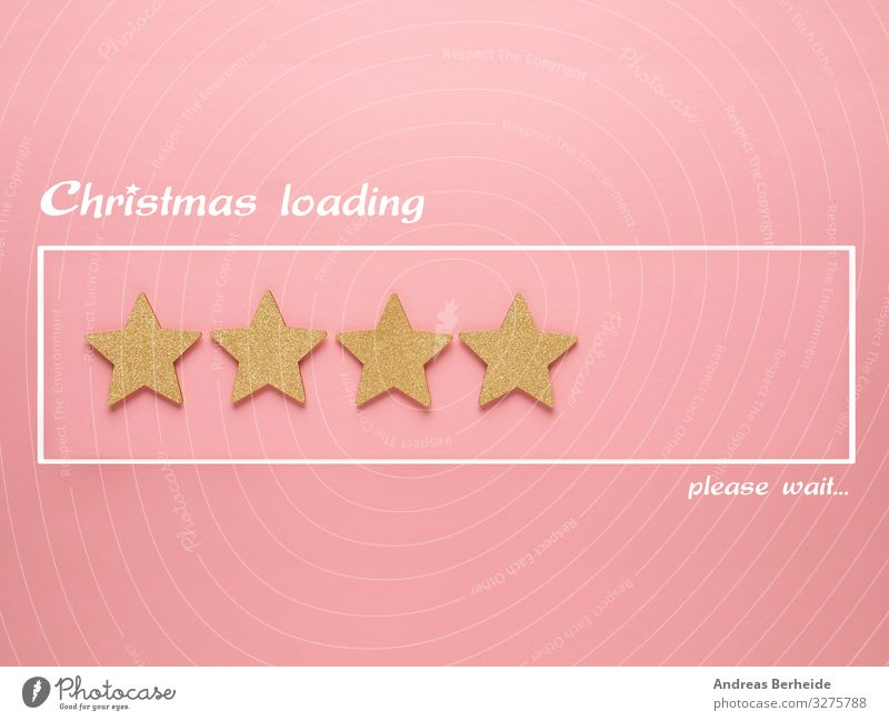 Christmas loading bar with golden star shapes Design Bar Cocktailbar Feste & Feiern Weihnachten & Advent Dekoration & Verzierung Zeichen rosa Tradition
