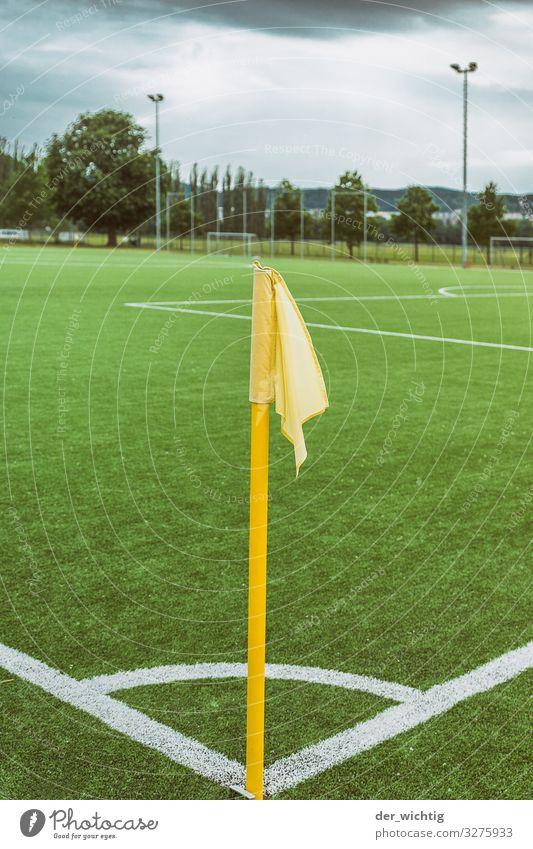 Eckfahne grün weiß gelb Wiese Sport Spielen Schilder & Markierungen Fußball Fahne sportlich Eckstoß Sportveranstaltung Stadion Fußballplatz Ballsport