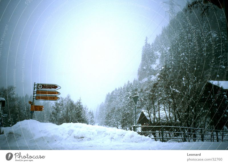 Schnee Baum Haus Berge u. Gebirge Pfosten Zeichen elektrische kabel snow hill mountain tree Hut sign