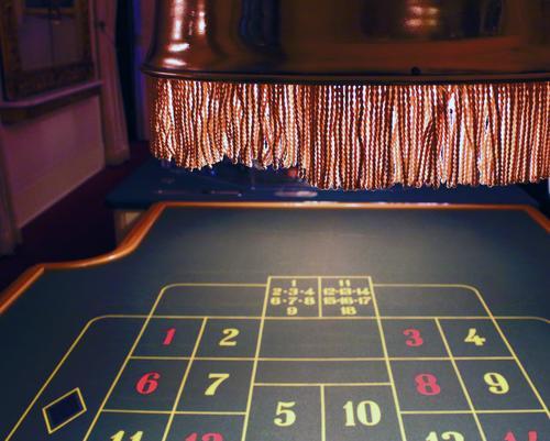 Roulette Blick aufs Tableau darüber Hängeleuchte aus Kupfer mit Fransen braun gelb grün rot schwarz weiß verloren Risiko Einsatz Spannung Geld Beleuchtung