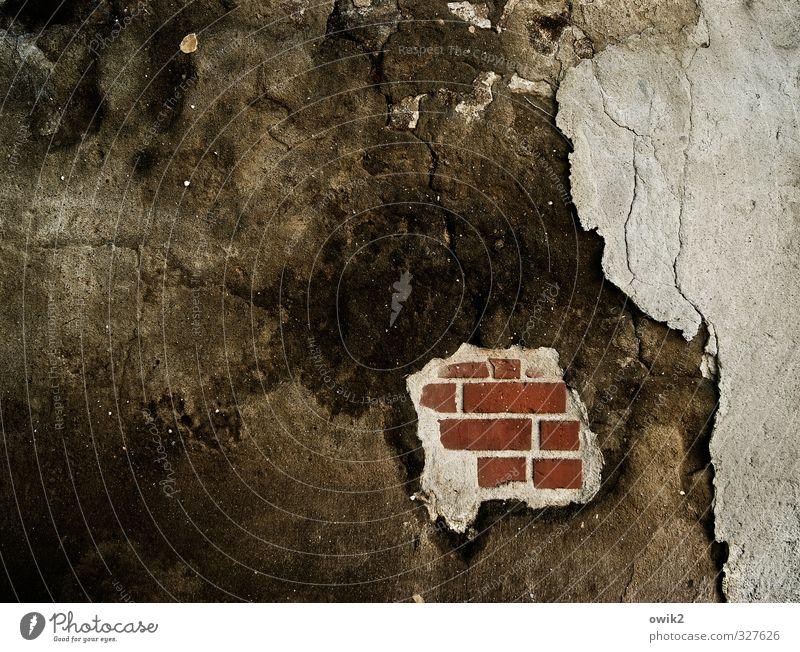 Fragment alt Wand Mauer Stein dreckig warten trist kaputt einfach Vergänglichkeit Wandel & Veränderung Spuren verfallen Verfall Backstein Riss