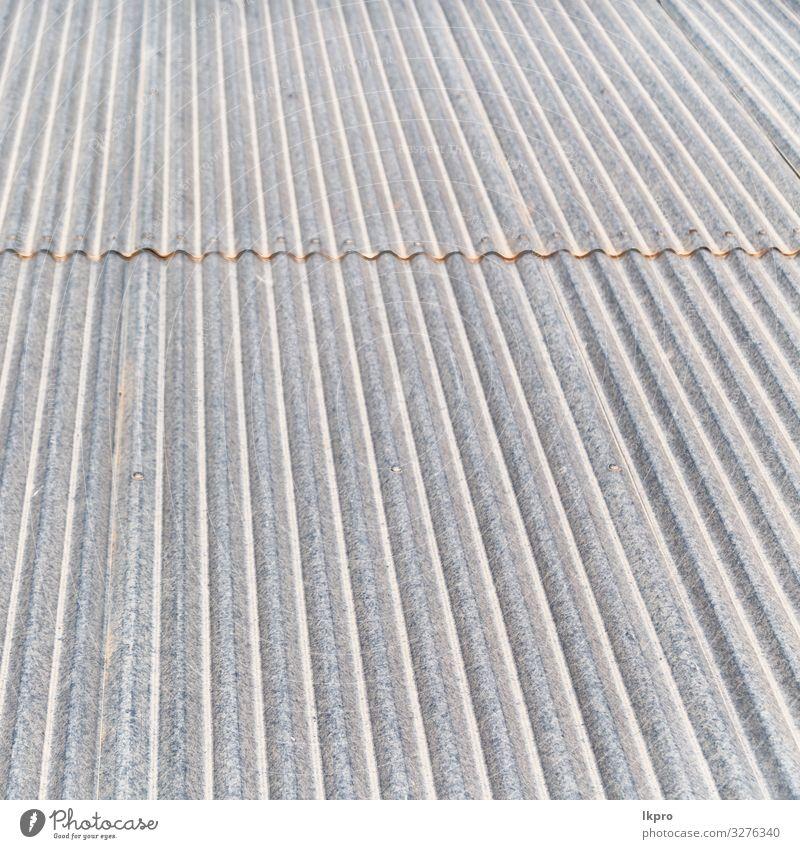 Hintergrundtextur eines Wellblechdaches Teller Haus Tapete Industrie Gebäude Architektur Metall Stahl Linie alt grau schwarz weiß gewellt Dach Konsistenz bügeln